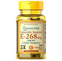 Puritan's Pride, Vitamin E-400 из натуральных источников, 100 капсул.
