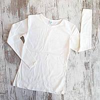 Блузка школьная подростковая для девочек однотонная 9-12 лет, молочного цвета