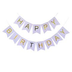 Гирлянда-растяжка флажки Happy Birthday сиреневая