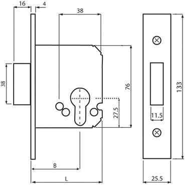 Схема замка Mul-T-Lock 1-WAY DIN 731 SS фото
