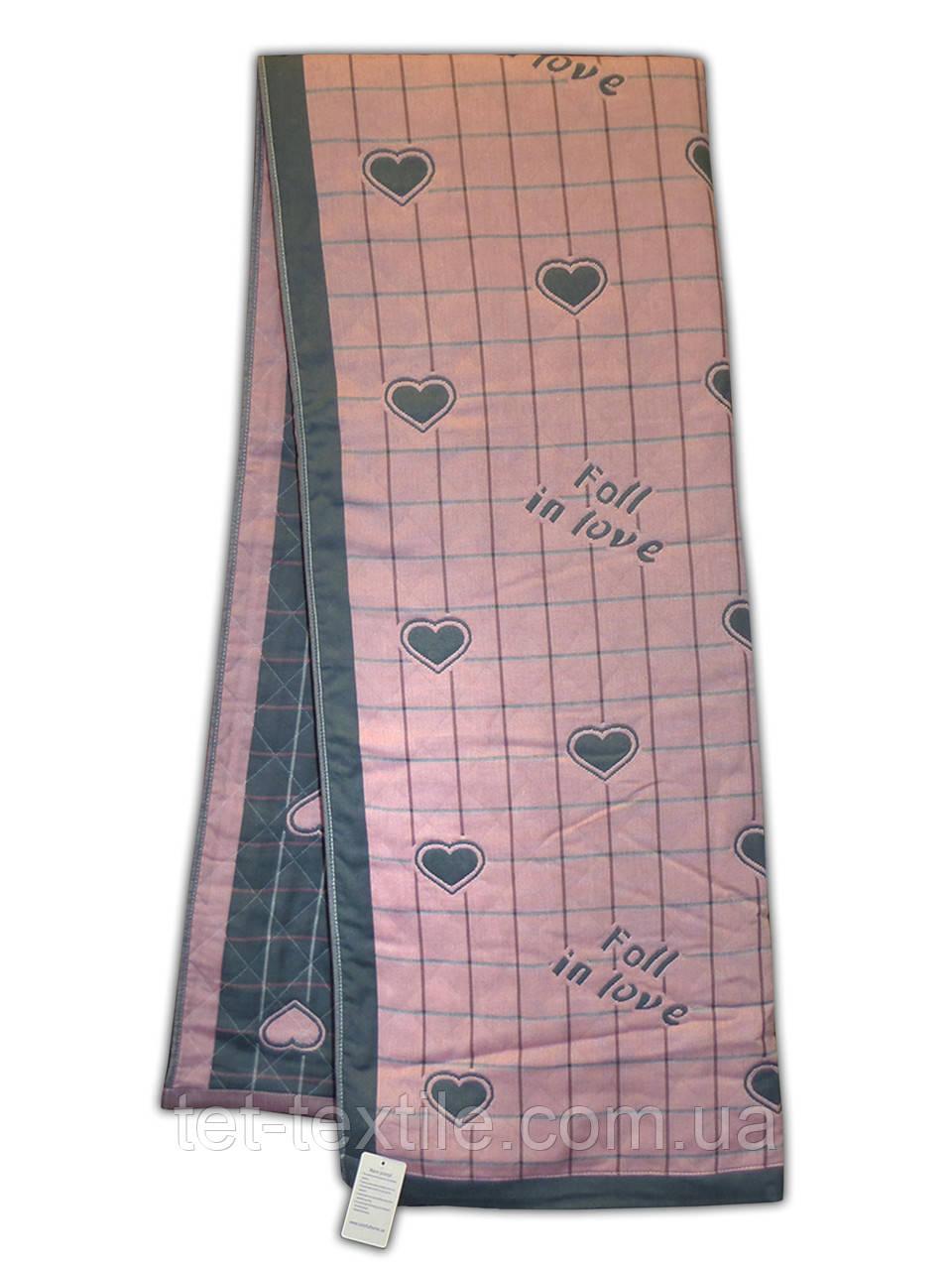 Покрывало льняное Сердечки, бледно-розовое 220х240 см.