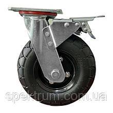 Колесо поворотное надувное с полноценным тормозом, 200х50