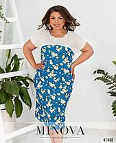 Плаття в квіточку з льону в квіточку великий розмір від 50 до 64, фото 2