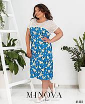 Плаття в квіточку з льону в квіточку великий розмір від 50 до 64, фото 3