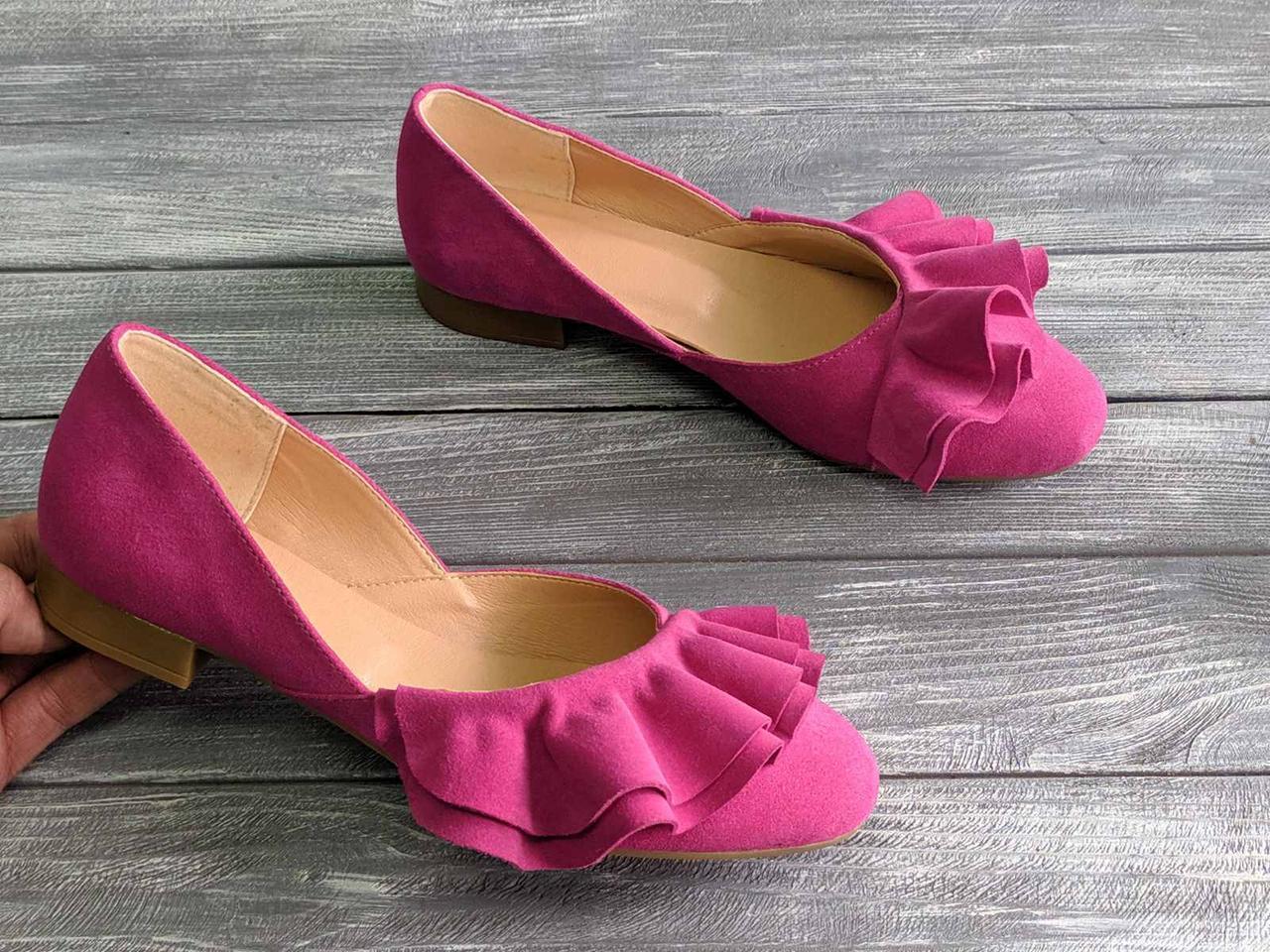 Балетки замшеві туфлі на підборах 1 см, всередині шкіра з рюшечкой розміри 36-41