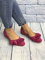 Балетки замшеві туфлі на підборах 1 см, всередині шкіра з рюшечкой розміри 36-41, фото 3