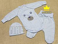 Летний с дырочками р 56 0-1 месяц детский костюмчик комплект на выписку для новорожденных АЖУР 7021 Голубой, фото 1