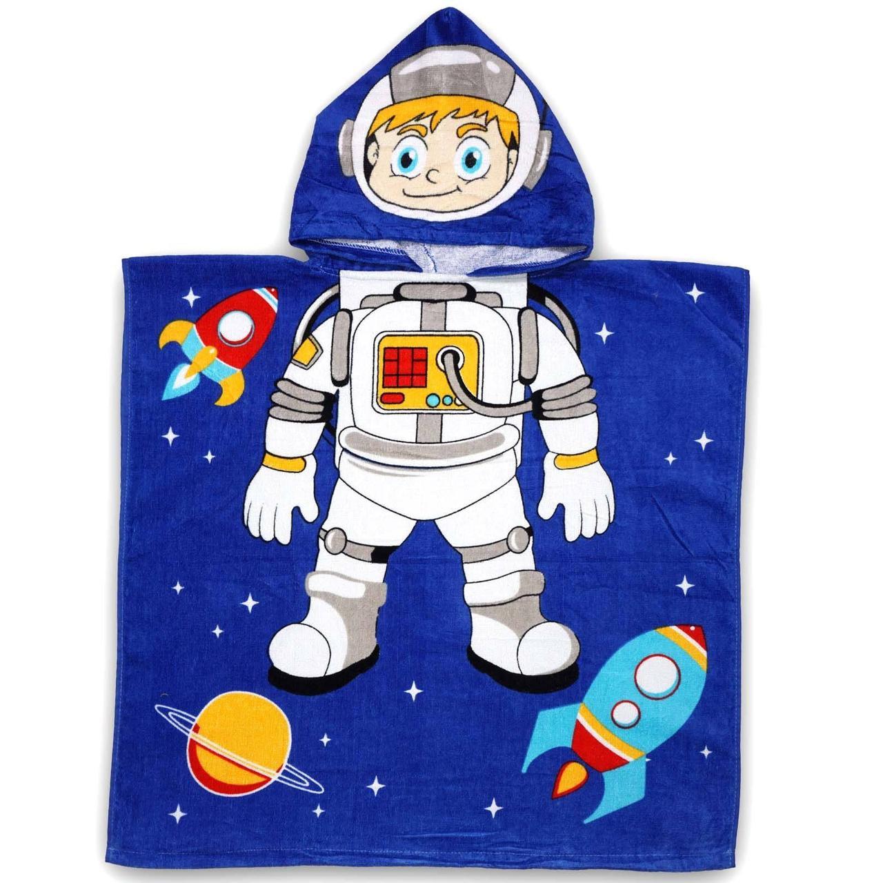 """Дитячий пляжний рушник - пончо """"Космонавт 2"""""""