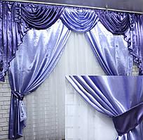 Ламбрекен и шторы из атласа  №049 Цвет сиреневый с фиолетовым