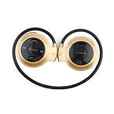 Бездротова гарнітура 3в1 bluetooth-навушники, MP3-плеєр, FM радіо (золотистий), фото 2