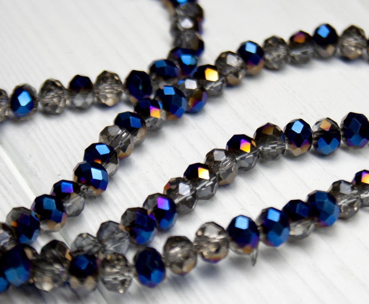 Бусины хрустальные (Рондель)  6х4мм пачка - 95-105 шт, двухцветные сине серые прозрачные