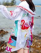 Модная молодёжная ветровка летняя Лёгкая продуваемая Накидка от солнца Трендовая 2020 с Фламинго Love