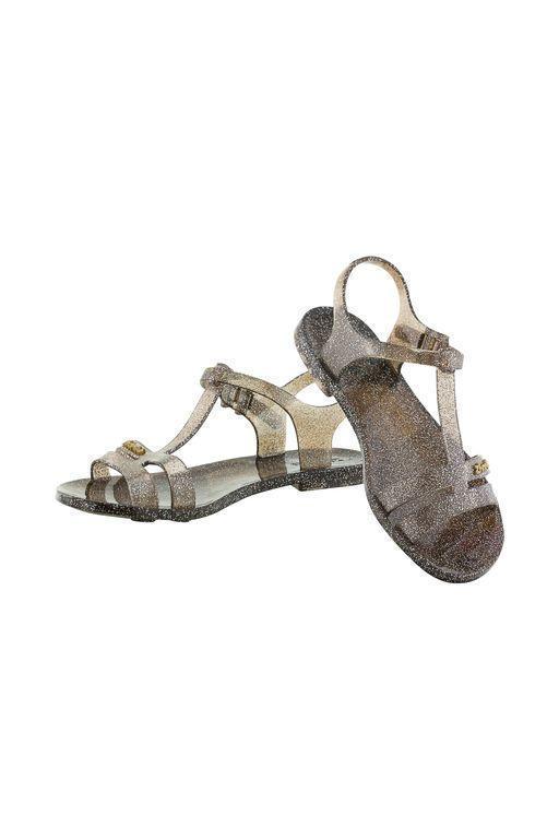 Женские сандалии Zhoelala 38 24,3 см графитовые с блестками