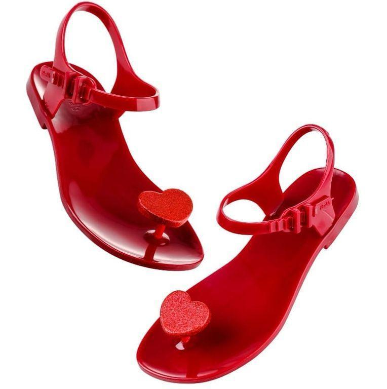 Жіночі сандалі Zhoelala 41 26,5 см червоні червоне серце з блискітками