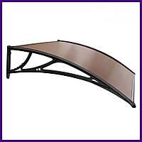 Навес Козырек из Поликарбоната  для входных дверей Siker 1000-C (1000 * 1200) Черный