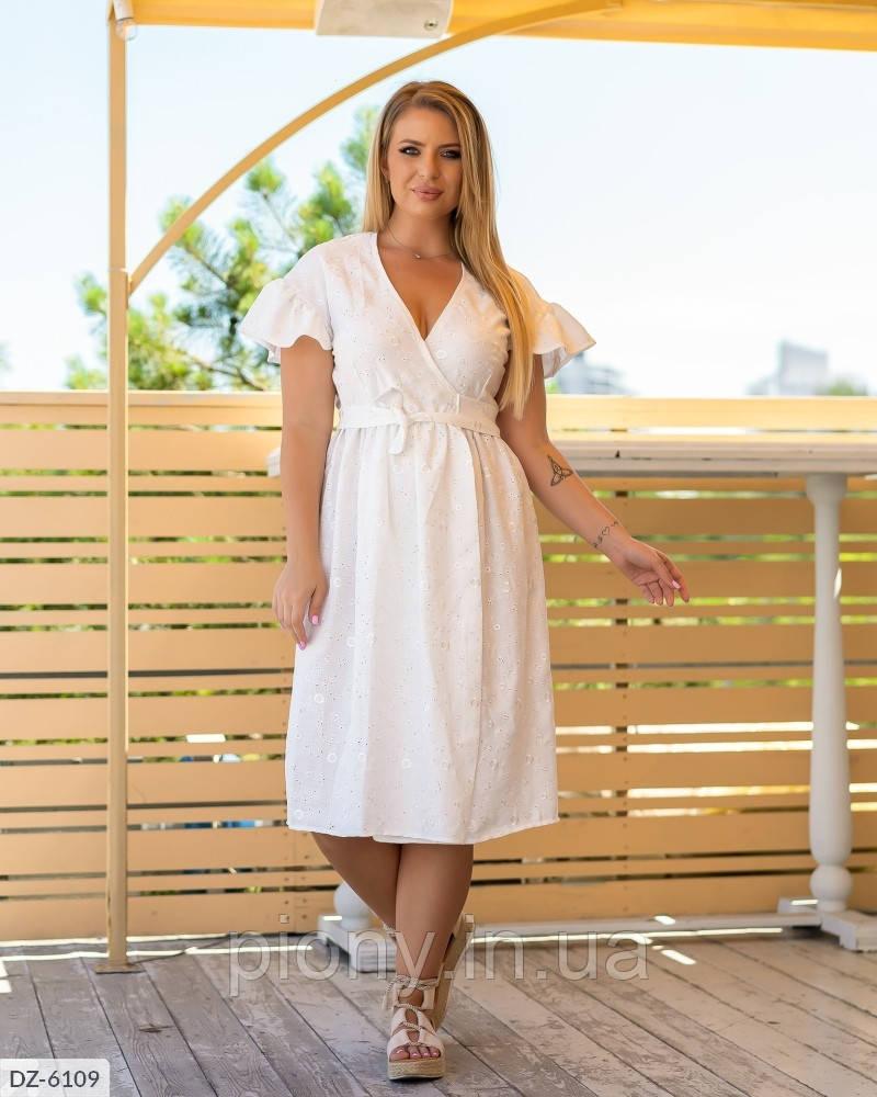 Женское Платье с вышивкой на запах Батал