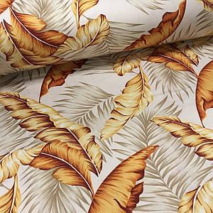 Сатин (ТУРЦИЯ шир. 2,4 м) банановые листья оранжевые на бежевом Отрез (1,3*2,40м)