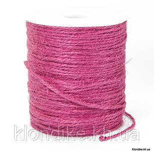Шнур Бечевка Декоративная, 2 мм, Цвет: Розовый (10 метров)