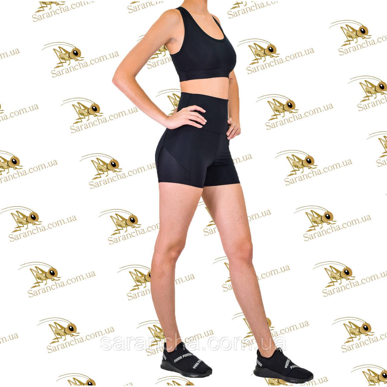 Женский спортивный комплект шорты и топ черного цвета