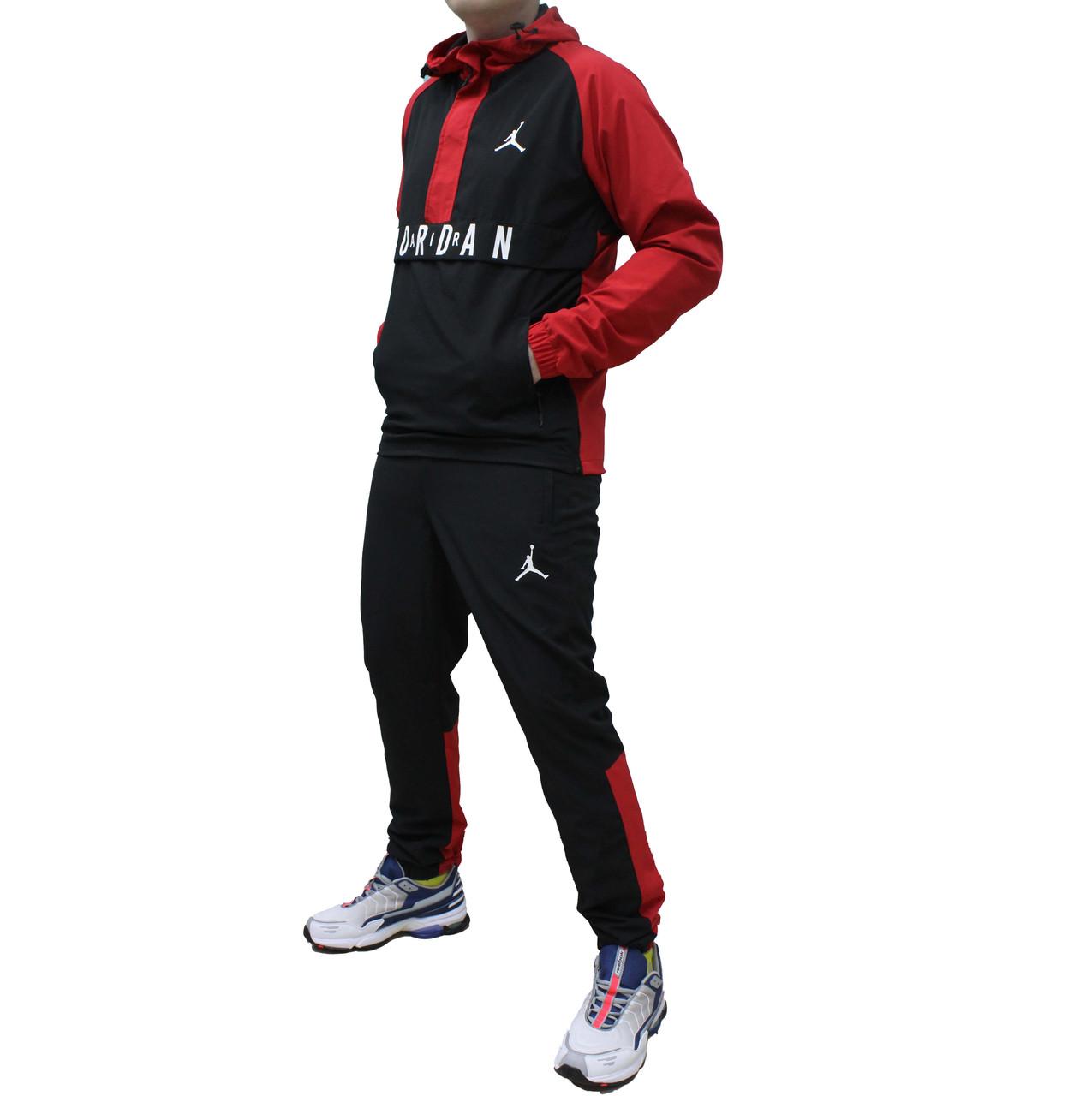 Болоневый стрейчевый яркий костюм анорак Jordan с капюшоном 48 размера (Реплика)