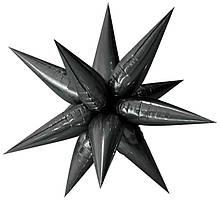 3 D Зірка чорний фольгована 65*65  Китай