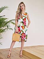 Цветочное свободное платье с цветами и с карманами / Цветочный принт