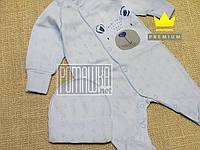 Красивый р 56 0-1 мес летний человечек комбинезон и шапочка костюмчик на выписку для девочки АЖУР 7022 Голубой, фото 1