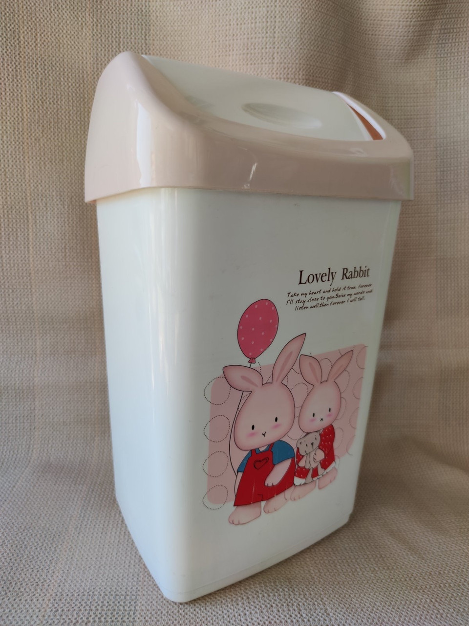 """Відерце для сміття«Lovely rabbit"""", матеріал пластик, розмір 35х22х14,5 см, виробник Туреччина, ціна 75грн"""
