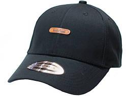 Черная бейсболка, кепка мужская, женская коттон кожаный логотип