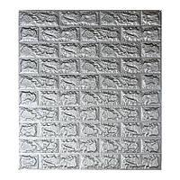 Самоклеющаяся декоративная 3D панель под кирпич серебро 700x770x5мм Os-CZ-03-5, фото 1