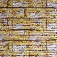 Самоклеющаяся декоративная 3D панель бамбуковая кладка желтая 700x700x8мм