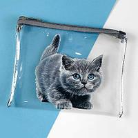 Косметичка прозрачная Visible Серый котик 18,5*15 см (KPR_19A006_SE)