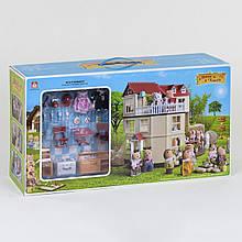 Игровой набор Happy Family 012-10 двухэтажный домик с флоксовыми животными и мебелью на пять комнат