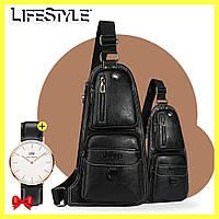 Кожаная мужская сумка Jeep / Сумка-рюкзак через плечо +  Часы Daniel Wellington в Подарок, фото 1