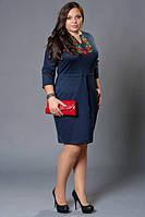 Женское платье вышиванка темно-синее большой размер
