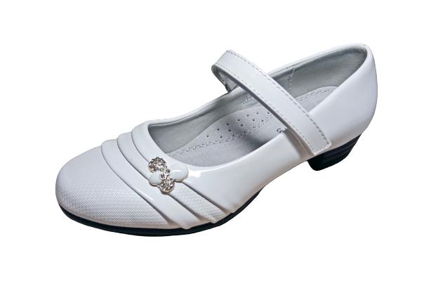 Белые нарядные школьные туфли на каблучке и на липучке девочкам, р. 33, стелька 22 см
