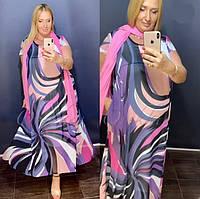 Красивое длинное платье с шелковым шарфом Cadrelli (Турция) 52-62р
