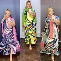 Красивое платье с шелковым шарфом Cadrelli (Турция) 52-62р