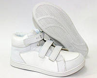 Высокие детские кроссовки белые на липучках