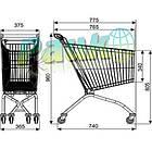 Візок покупця металевий MEC 66, торговий візок в магазин, фото 2