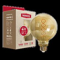 Филаментная лампа арт деко G125 4W 2200K E27 Vintage  1-LED-7125