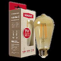 Филаментная лампа арт деко ST64 7W 2200K E27 Amber 1-LED-7064