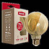 Филаментная лампа арт деко G95 7W 2200K E27 Amber  1-LED-7095