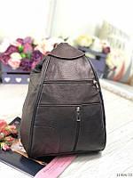 Сумка рюкзак темно-коричневый кожаный молодежный женский городской натуральная кожа