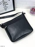 Черная женская кожаная сумка кросс-боди сумочка почтальонка квадратная натуральная кожа, фото 2