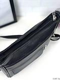 Черная женская кожаная сумка кросс-боди сумочка почтальонка квадратная натуральная кожа, фото 4