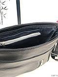 Черная женская кожаная сумка кросс-боди сумочка почтальонка квадратная натуральная кожа, фото 5