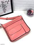 Черная женская кожаная сумка кросс-боди сумочка почтальонка квадратная натуральная кожа, фото 6