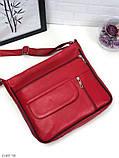 Черная женская кожаная сумка кросс-боди сумочка почтальонка квадратная натуральная кожа, фото 7