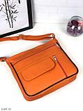 Черная женская кожаная сумка кросс-боди сумочка почтальонка квадратная натуральная кожа, фото 8